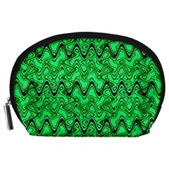 Green Wavy Squiggles Accessory Pouches (large)  by BrightVibesDesign