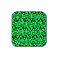 Green Wavy Squiggles Rubber Square Coaster (4 Pack)  by BrightVibesDesign