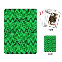 Green Wavy Squiggles Playing Card by BrightVibesDesign