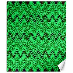 Green Wavy Squiggles Canvas 20  X 24   by BrightVibesDesign