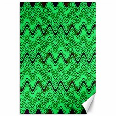 Green Wavy Squiggles Canvas 20  X 30   by BrightVibesDesign