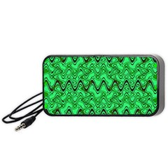 Green Wavy Squiggles Portable Speaker (Black)  by BrightVibesDesign