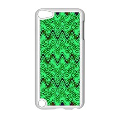 Green Wavy Squiggles Apple Ipod Touch 5 Case (white) by BrightVibesDesign