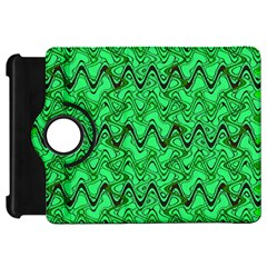 Green Wavy Squiggles Kindle Fire Hd Flip 360 Case by BrightVibesDesign