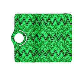 Green Wavy Squiggles Kindle Fire Hdx 8 9  Flip 360 Case by BrightVibesDesign