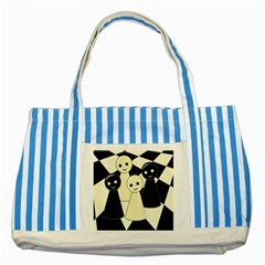 Chess Pieces Striped Blue Tote Bag by Valentinaart