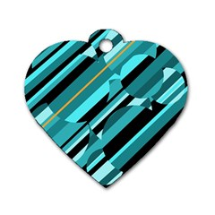 Blue Abstraction Dog Tag Heart (one Side) by Valentinaart