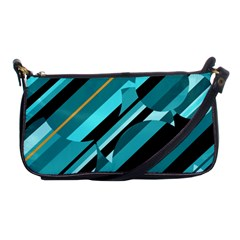 Blue Abstraction Shoulder Clutch Bags by Valentinaart