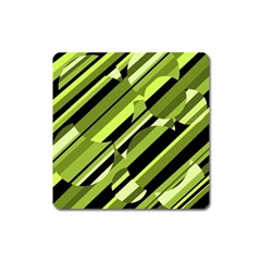 Green Pattern Square Magnet by Valentinaart