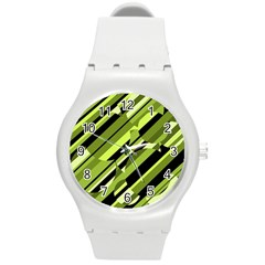 Green Pattern Round Plastic Sport Watch (m) by Valentinaart