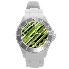 Green Pattern Round Plastic Sport Watch (l) by Valentinaart