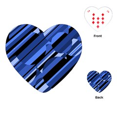 Blue Pattern Playing Cards (heart)  by Valentinaart