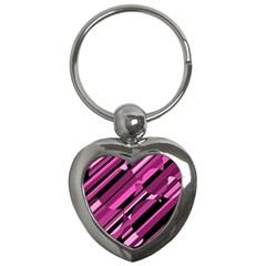 Magenta Pattern Key Chains (heart)  by Valentinaart