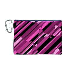 Magenta Pattern Canvas Cosmetic Bag (m) by Valentinaart