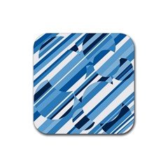 Blue Pattern Rubber Square Coaster (4 Pack)  by Valentinaart