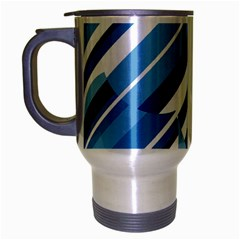 Blue Pattern Travel Mug (silver Gray) by Valentinaart