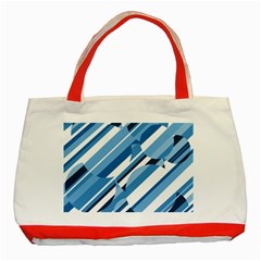 Blue Pattern Classic Tote Bag (red) by Valentinaart