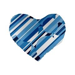 Blue Pattern Standard 16  Premium Heart Shape Cushions by Valentinaart