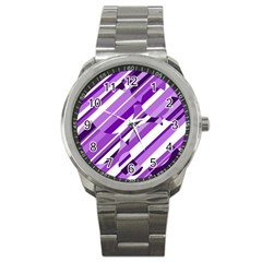 Purple Pattern Sport Metal Watch by Valentinaart