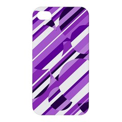 Purple Pattern Apple Iphone 4/4s Premium Hardshell Case by Valentinaart