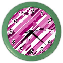 Magenta Pattern Color Wall Clocks by Valentinaart
