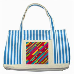 Colorful Summer Pattern Striped Blue Tote Bag by Valentinaart