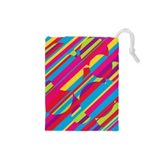 Colorful summer pattern Drawstring Pouches (Small)