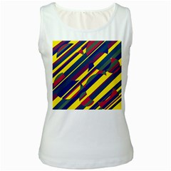 Colorful pattern Women s White Tank Top by Valentinaart