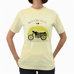Vintage Watercolor Motorcycle Women s Yellow T Shirt