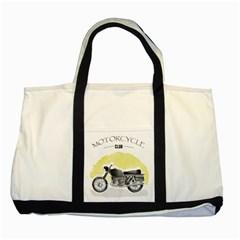 Vintage Watercolor Motorcycle Two Tone Tote Bag