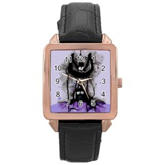 Suspension Rose Gold Leather Watch  by lvbart