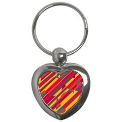 Colorful Hot Pattern Key Chains (heart)  by Valentinaart