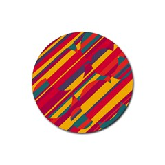 Colorful Hot Pattern Rubber Round Coaster (4 Pack)  by Valentinaart
