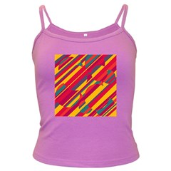 Colorful hot pattern Dark Spaghetti Tank by Valentinaart