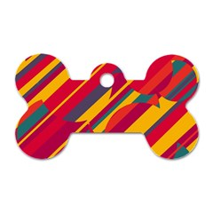Colorful Hot Pattern Dog Tag Bone (two Sides) by Valentinaart