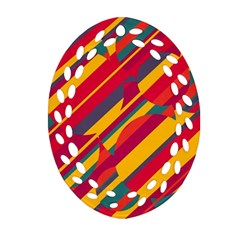 Colorful Hot Pattern Ornament (oval Filigree)  by Valentinaart