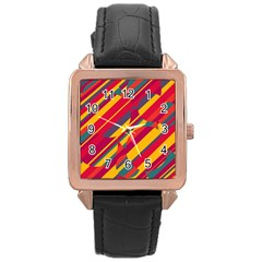 Colorful Hot Pattern Rose Gold Leather Watch  by Valentinaart