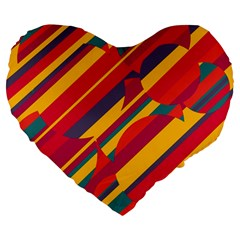 Colorful Hot Pattern Large 19  Premium Flano Heart Shape Cushions by Valentinaart