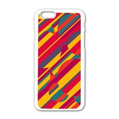 Colorful Hot Pattern Apple Iphone 6/6s White Enamel Case by Valentinaart