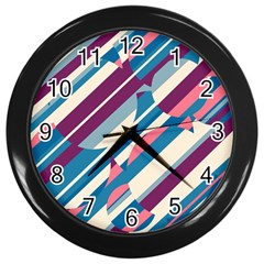 Blue And Pink Pattern Wall Clocks (black) by Valentinaart