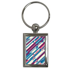Blue And Pink Pattern Key Chains (rectangle)  by Valentinaart
