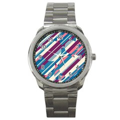Blue and pink pattern Sport Metal Watch by Valentinaart