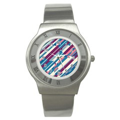 Blue And Pink Pattern Stainless Steel Watch by Valentinaart