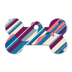 Blue And Pink Pattern Dog Tag Bone (one Side) by Valentinaart
