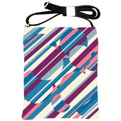 Blue And Pink Pattern Shoulder Sling Bags by Valentinaart