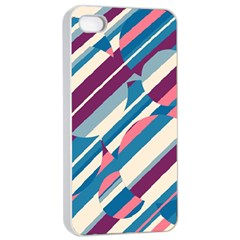 Blue And Pink Pattern Apple Iphone 4/4s Seamless Case (white) by Valentinaart