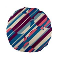 Blue And Pink Pattern Standard 15  Premium Round Cushions by Valentinaart