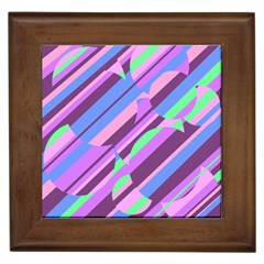 Pink, purple and green pattern Framed Tiles