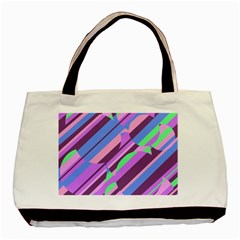 Pink, Purple And Green Pattern Basic Tote Bag (two Sides) by Valentinaart