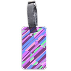 Pink, Purple And Green Pattern Luggage Tags (one Side)  by Valentinaart
